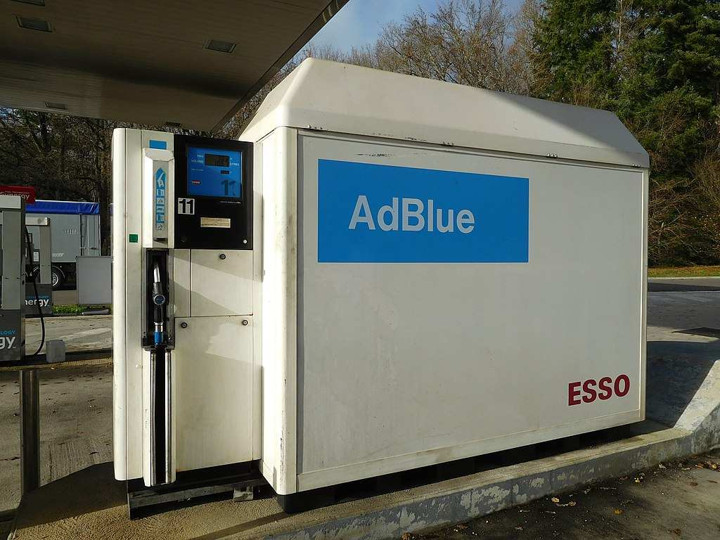 An Esso petrol station pump displays the AdBlue logo, which is something you should consider if you want your exhaust system to meet emissions regulations