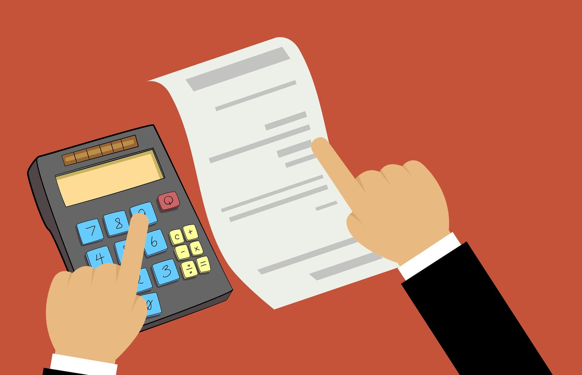 A carton of a calculator and a statement symbolises the invoice factoring that goes into maintaining a positive cash flow