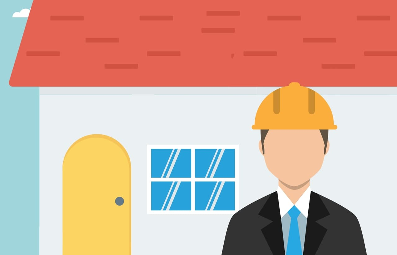 A faceless, cartoon man wearing a suit and a hard hat stands in front of a house and thinks about factoring company spending into his cash flow statement