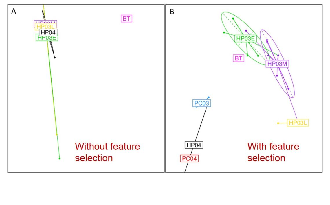 The first two principal components of the PCA undertaken using (a) SARS coronavirus complete spike protein nucleotide sequences, and (b) nucleotides selected by the RFA.