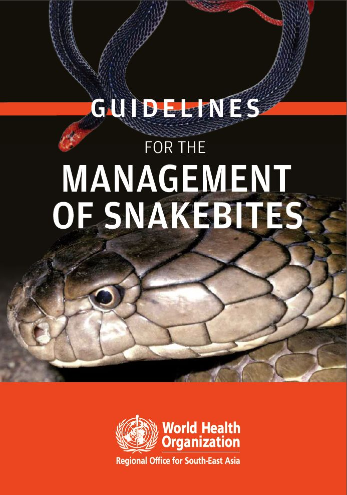 WHO SEARO Guidelines for the management of snake-bites. WHO Regional Office for South-East Asia, 3rd Ed 2016.