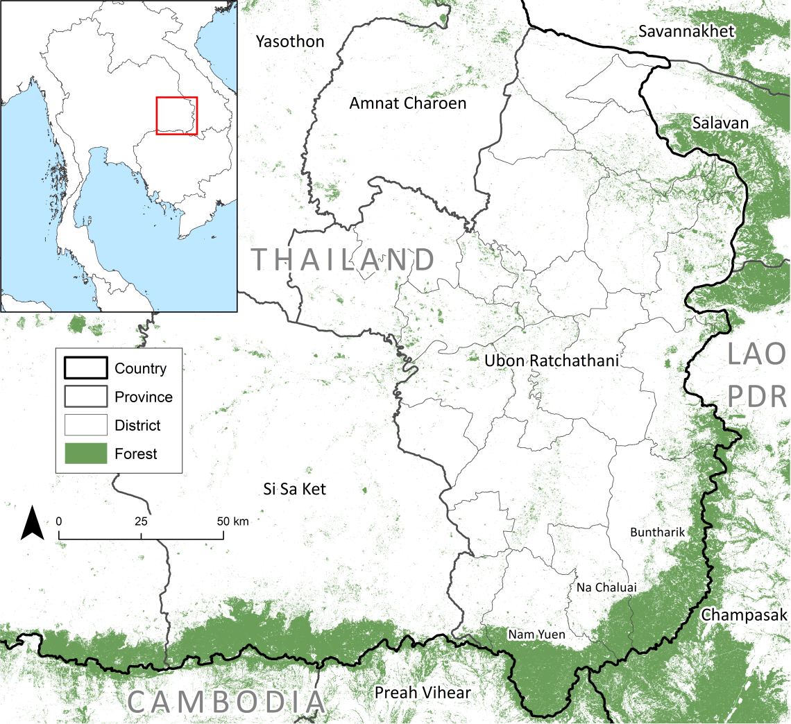Forest cover in Ubon Ratchathani Province, Thailand in 2016