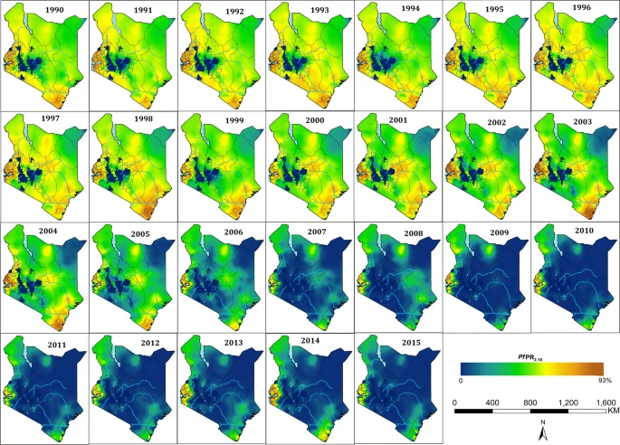 Kenya map showing the prevalence of P. falciparum, from 1990 to 2015