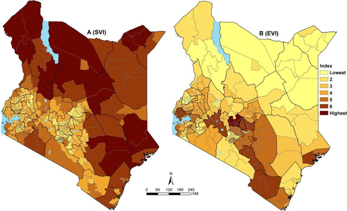 2 maps of Kenya showing the Social Vulnerability Index and Epidemiological Vulnerability Index (across 295 subcounties