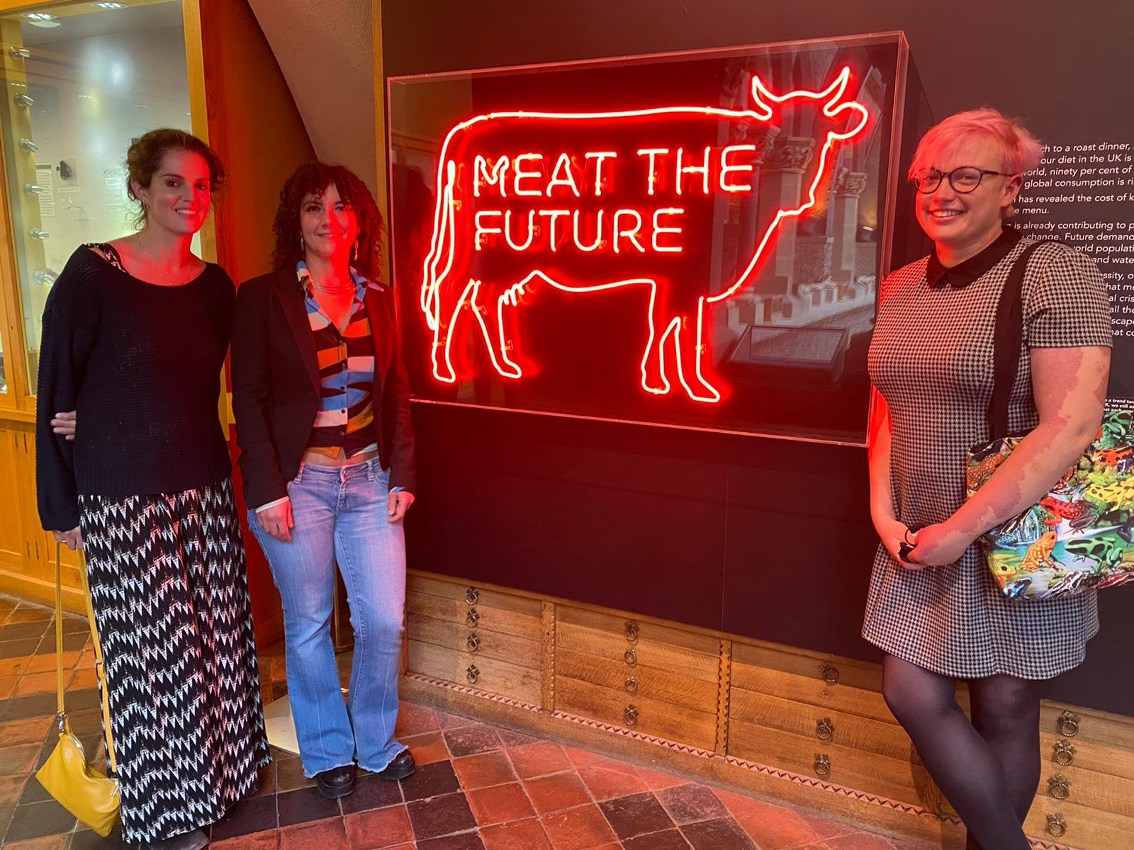 The histology team at the exhibit in the Oxford natural history museum. (From left to right) Dr Bryony Stott, Dr Ida Parisi and Rhiannon Cook.