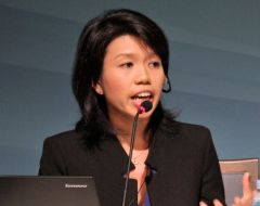 Xin Hui Chan speaking into a microphone