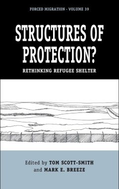 Structures of Protection? cover showing black & white sketch of a fence and fields beyond