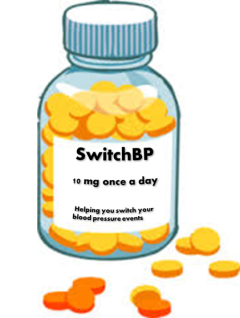 Graphic of bottle of tablets labelled 'Switch BP'