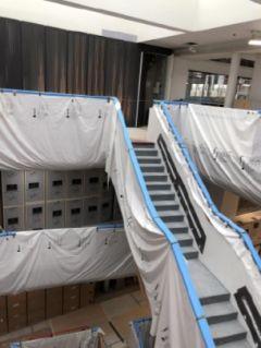 Interior shot of works progressing in Biochemistry building