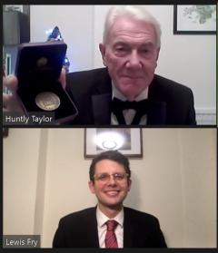 Lewis Fry receiving Master's Medal online