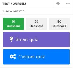 Test yourself function on lab med app