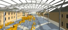 Artist's view of the planned atrium linking the historic listed buildings