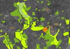 Aerial map showing the site as part of Oxford's green corridors