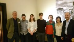 HERC Researchers at the HESG Meeting, January 2016. L-R Alastair Gray, James Buchanan, Jacqui Murphy, Seamus Kent, Filipa Landeiro, Yaling Yang, Laurence Roope.