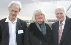 Richard Peto, Valerie Beral & Richard Doll on roof of Richard Doll Building, Photo courtesy of Cancer Epidemiology Unit, Oxford