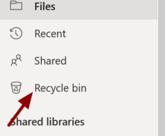 Screenshot showing location of the Recycle bin in OneDrive