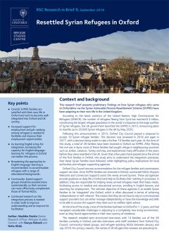 Research in Brief: Resettled Syrian Refugees in Oxford