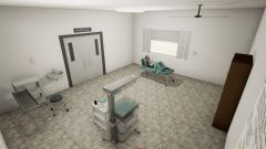 In-game interior of a virtual maternity unit with a mother in labour.