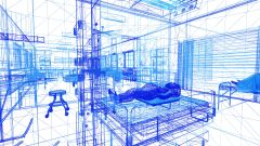 Wireframe depiction of the virtual hospital environment under construction using Unreal engine.