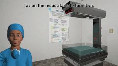 A navigation event for the player to find and turn on the resuscitaire (a place for resuscitating newborn babies), within the labour room virtual environment. Also displayed is an avatar of the health worker to attend to the baby.