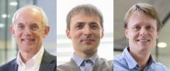 A compiled image of Benoit Van den Eynde, Skirmantas Kriaucionis and Mads Gyrd-Hansen