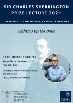 Sir Charles Sherrington Prize Lecture 2021 was entitled Lighting Up the brain delivered by Gero Miesebock FRS Waynflete Professor of Physiology, Director of the Centre for Neural Circuits and Behaviour at DPAG, University of Oxford.
