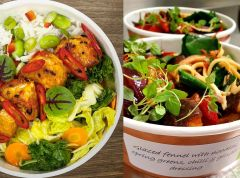 Tempeh (left) and noodle salad (right): just two of the plant-based meals on the Tulip Tree cafe menu. (credit: Compass Group)