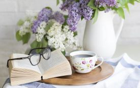 Coffee, flowers, book