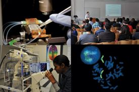 scientists in lab and conference collage