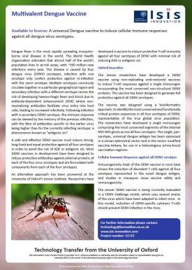 Multivalent dengue vaccine article screenshot