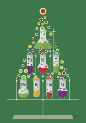 Christmas Tree constructed from lab equipment