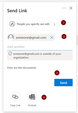 Screenshot of the sharing option screen in OneDrive
