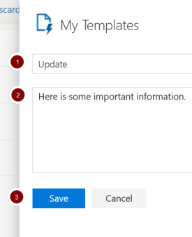 Screenshot showing template options in Office 365