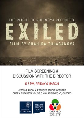 Poster for the screening of Exiled: The Plight of the Rohingya Refugees