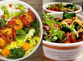 Tempeh (left) and noodle salad (right): just two of the delicious plant-based meals on offer at the BDI Café. Credit: Compass Group