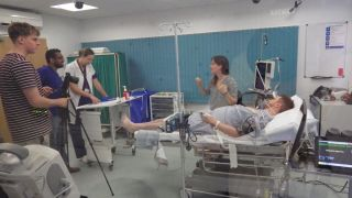 Rebecca Inglis, ICM trainee at the OUHFT, sets up and films a series of simulated critical care scenarios at OxSTaR's training facility, as part of her overseas study. The videos will become training aids for the project, which aims to improve patient safety in Laos based ICUs.
