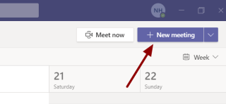 Screenshot showing the location of the New meeting button in the Teams app