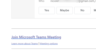 Screenshot of an invite email to a Teams meeting