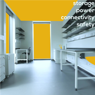 Image of a scale up lab with the text 'storage, power, connectivity, safety'.