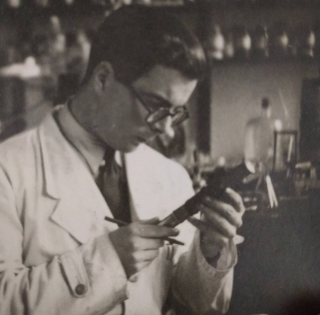 Brian Loughman in his Oxford laboratory in 1954