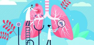 Cartoon of doctors and scientists investigating a pair of lungs