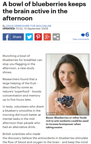Screenshot of Daily Mail news article showing text and a picture of a woman holding a bowl of blueberries