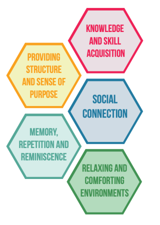 Knowledge and Skill Acquisition, Providing Structure and Sense of Purpose, Social Connection, Memory, Repetition and Reminiscence, Relaxing and Comforting Environments.