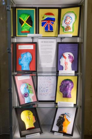 Artwork created by Brain Diaries participants - several paintings/plaster work