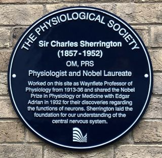 Plaque reads: Sir Charles Sherrington (1857 - 1952) OM, FRS Physiologist and Nobel Laureate. Worked on this site as Waynflete Professor of Physiology from 1913 - 36 and shared the Nobel Prize in Physiology or Medicine with Edgar Adrian in 1932 for their discoveries regarding the function of neurons. Sherrington laid the foundation for our understanding of the central nervous system.
