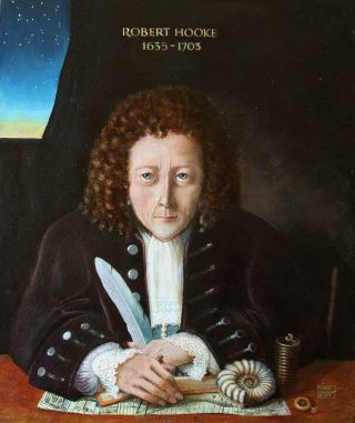 Portrait of Robert Hooke writing with a quill pen