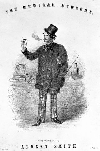 Man shown smoking a cigarette with a top hat, large coat and checked trousers