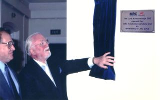 Richard Attenborough pulls back the curtain of the new Centre sign