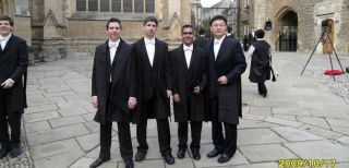 Peter Charbel Issa second from left on matriculation at Merton College Oxford, with Dan Lipinski, Mandeep Singh and Haidong Shan