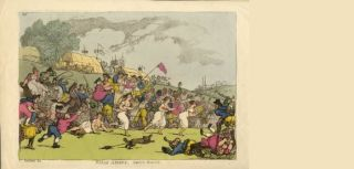 Community: Thomas Rowlandson, Rural sports: Smock racing, hand-coloured etching, 1811